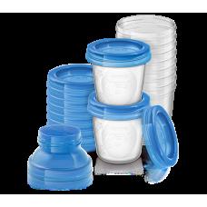 Контейнеры для хранения грудного молока с крышками, 0 мес+, (10 контейнеров 180 мл, 10 крышек, 2 адаптера для молокоотсоса) Купить