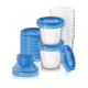 Контейнеры для хранения грудного молока с крышками, 0 мес+, (10 контейнеров 180 мл, 10 крышек, 2 адаптера для молокоотсоса)