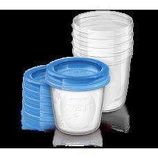 Контейнеры для хранения грудного молока с крышками, 0 мес+, (5 контейнеров 180 мл, 5 крышек) Купить
