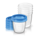 Контейнеры для хранения грудного молока с крышками, 0 мес+, (5 контейнеров 180 мл, 5 крышек)