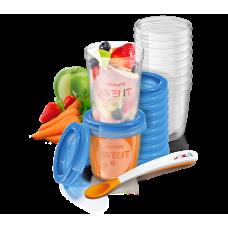 Контейнеры для хранения продуктов , 6 мес+,(10 контейнеров 180 мл.,+10 контейнеров 240 мл.,+20 крышек,+1 ложечка для кормления) Купить