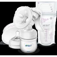 Молокоотсос ручной Comfort c бутылочкойи пакетами для хранения грудного молока (10 шт.)