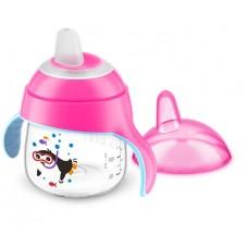 Чашка-поильник с носиком, с ручками 200 мл. от 6 мес, розовая Купить
