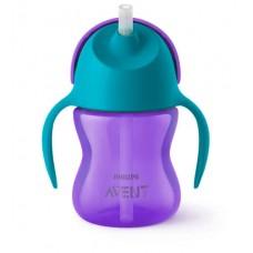 Чашка с трубочкой 200 мл., от 9 мес., фиолетово-бирюзовый   Купить