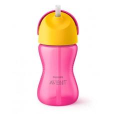 Чашка с трубочкой 300 мл., от 12 мес., розово-желтый Купить
