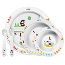 Набор для кормления малышей от 6 мес. (Тарелка с разделителями для порций, большая тарелка, маленькая тарелка, ложка, вилка.) Купить
