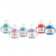 Бутылочка пластиковая с ручками (широкое горлышко) 150 мл с силиконовой соской. средний поток Bebe D'or. Купить