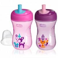 Чашка-поильник Advanced Cup , с трубочкой, 266 мл., 12 мес+, розовый, сиреневый